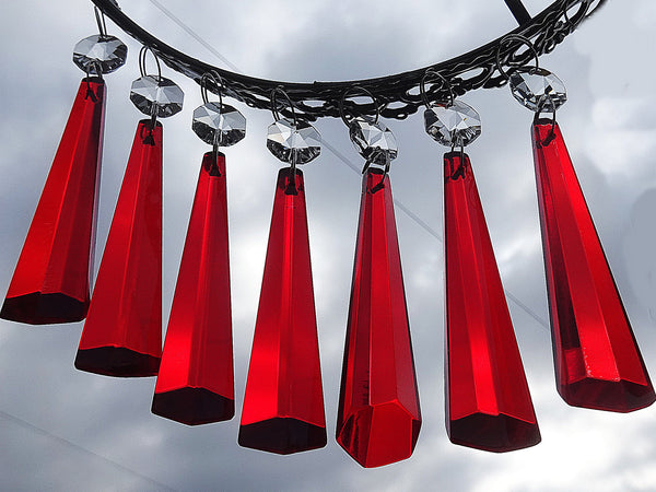 "12 Red Icicles 72 mm 3"" Chandelier Crystals Drops Beads Droplets Christmas Wedding Decorations 9"
