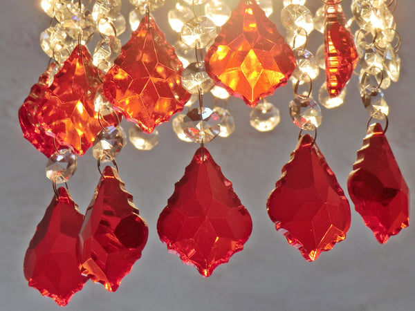 "12 Red Leaf 50 mm 2"" Chandelier Crystals Drops Beads Droplets Christmas Wedding Decorations 6"