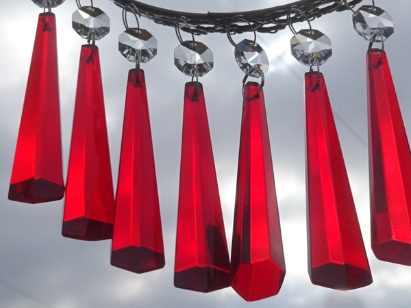 "12 Red Icicles 72 mm 3"" Chandelier Crystals Drops Beads Droplets Christmas Wedding Decorations 12"