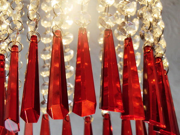 "12 Red Icicles 72 mm 3"" Chandelier Crystals Drops Beads Droplets Christmas Wedding Decorations 6"