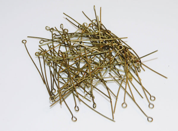 "100 x 38 mm 1.5"" Hoop Pins Antique Brass Bronze Chandelier Links Glass Droplets Crystals Beads Drops 4"