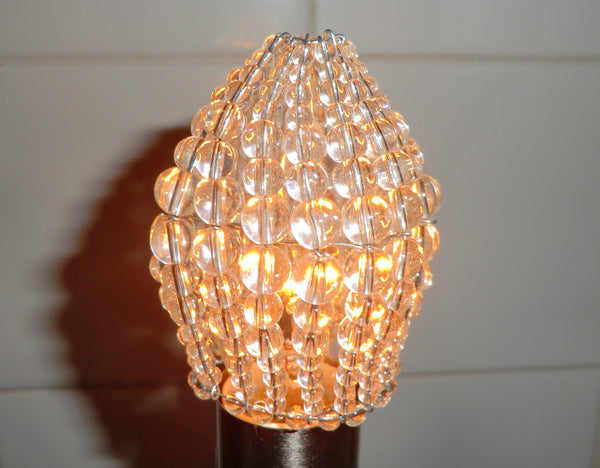 Chandelier Bead Light Candle Bulb Clear Glass Cover Sleeve Lampshade Alternative Beaded 7