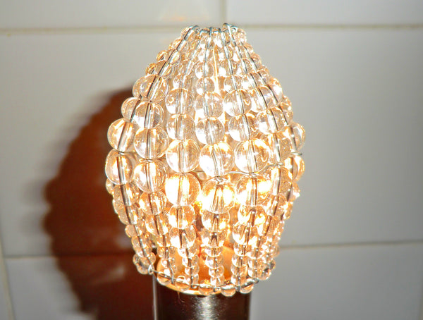 Chandelier Bead Light Candle Bulb Clear Glass Cover Sleeve Lampshade Alternative Beaded 8
