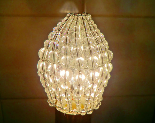 Chandelier Bead Light Candle Bulb Clear Glass Cover Sleeve Lampshade Alternative Beaded 9
