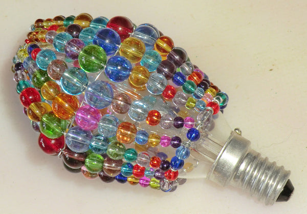 Chandelier Bead Candle Light Bulb Multi Colour Rainbow Glass Cover Sleeve Lampshade Alternative Beaded 5