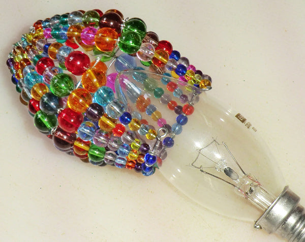 Chandelier Bead Candle Light Bulb Multi Colour Rainbow Glass Cover Sleeve Lampshade Alternative Beaded 4