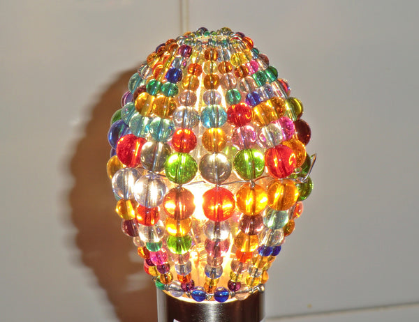 Chandelier Bead Candle Light Bulb Multi Colour Rainbow Glass Cover Sleeve Lampshade Alternative Beaded 7