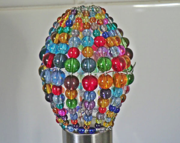 Chandelier Bead Candle Light Bulb Multi Colour Rainbow Glass Cover Sleeve Lampshade Alternative Beaded 6