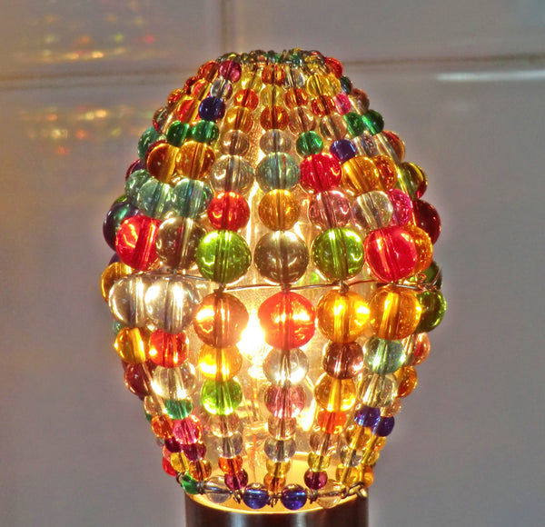 Chandelier Bead Candle Light Bulb Multi Colour Rainbow Glass Cover Sleeve Lampshade Alternative Beaded 9
