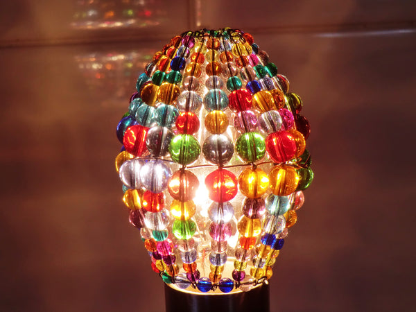 Chandelier Bead Candle Light Bulb Multi Colour Rainbow Glass Cover Sleeve Lampshade Alternative Beaded 8