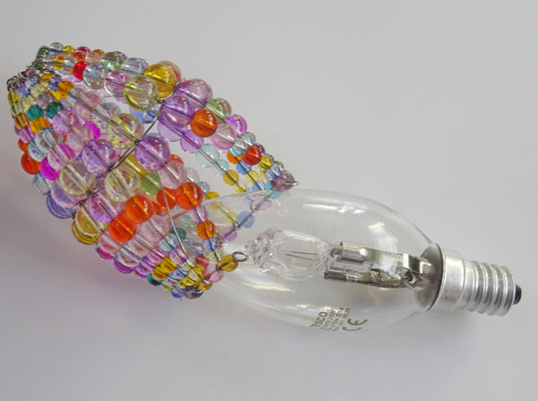 Chandelier Bead Candle Light Bulb Multi Colour Pastel Glass Cover Sleeve Lampshade Alternative Beaded 3