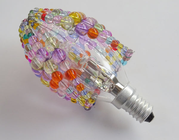 Chandelier Bead Candle Light Bulb Multi Colour Pastel Glass Cover Sleeve Lampshade Alternative Beaded 5