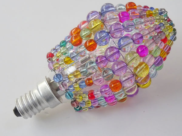 Chandelier Bead Candle Light Bulb Multi Colour Pastel Glass Cover Sleeve Lampshade Alternative Beaded 6