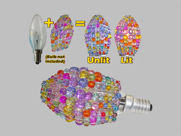 Chandelier Bead Candle Light Bulb Multi Colour Pastel Glass Cover Sleeve Lampshade Alternative Beaded 2