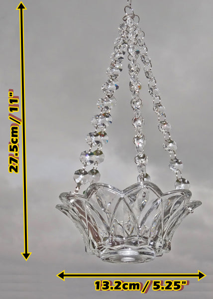 Clear Glass Chandelier Tea Light Candle Holder Wedding Event or Garden Feature 2