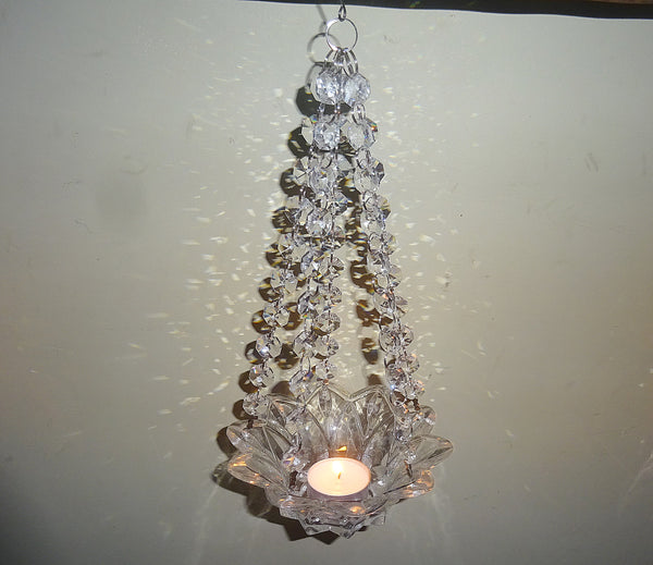 Clear Glass Chandelier Tea Light Candle Holder Wedding Event or Garden Feature 12
