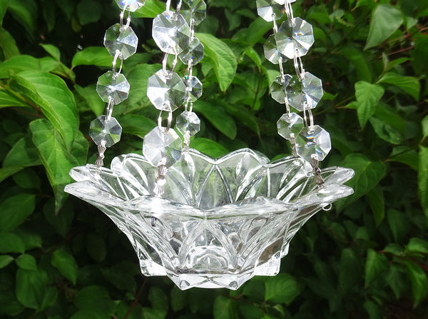 Clear Glass Chandelier Tea Light Candle Holder Wedding Event or Garden Feature
