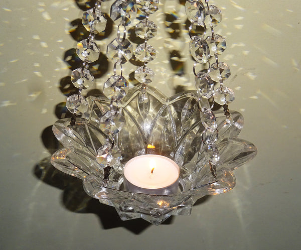 Clear Glass Chandelier Tea Light Candle Holder Wedding Event or Garden Feature 11