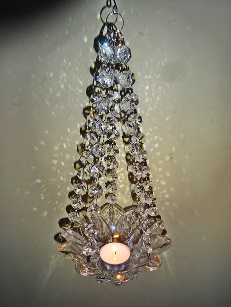 Clear Glass Chandelier Tea Light Candle Holder Wedding Event or Garden Feature 10
