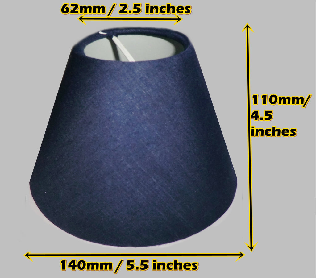 "Navy Dark Blue Clip On Candle Lampshade 5.5"" Chandelier Pendant Light Shade Retro"