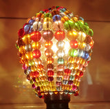 Chandelier Bead Light Bulb GLS Multi Colour Rainbow Glass Cover Sleeve Lampshade Alternative Beaded 9