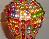 Chandelier Bead Light Bulb GLS Multi Colour Rainbow Glass Cover Sleeve Lampshade Alternative Beaded 8