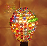 Chandelier Bead Light Bulb GLS Multi Colour Rainbow Glass Cover Sleeve Lampshade Alternative Beaded 7