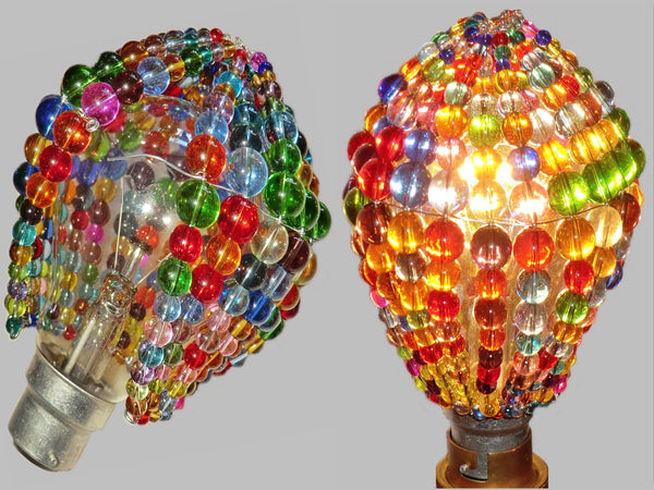 Chandelier Bead Light Bulb GLS Multi Colour Rainbow Glass Cover Sleeve Lampshade Alternative Beaded