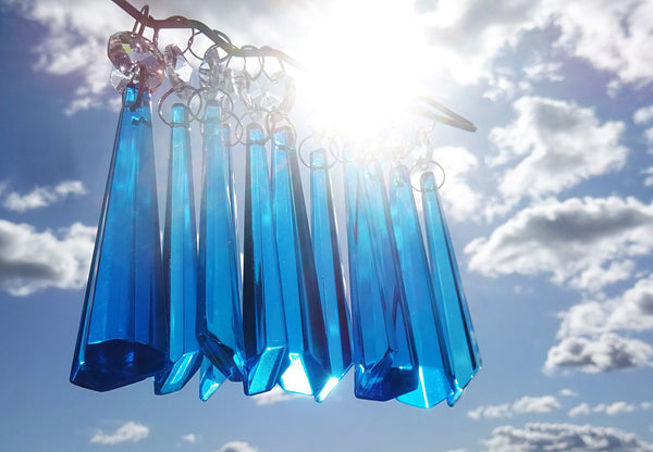 "Teal Blue Cut Glass Icicles 72 mm 3"" Chandelier Crystals Drops Beads Droplets Light Parts 3"