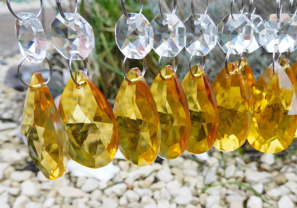 "1 Orange Cut Glass Oval 37 mm 1.5"" Chandelier Crystals Drops Beads Droplets Light Parts"