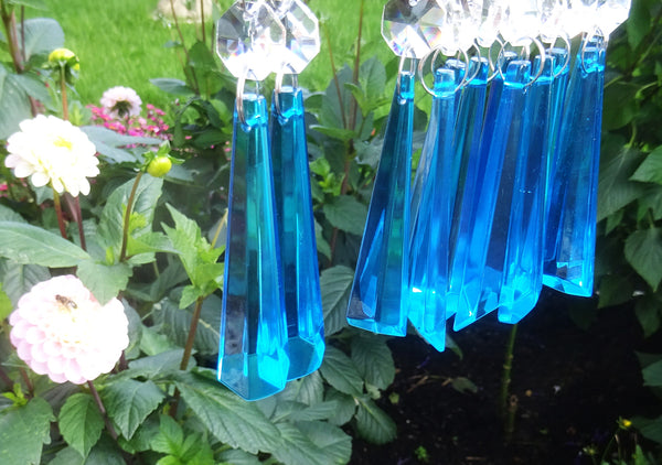 "12 Teal Blue Icicles 72 mm 3"" Chandelier Crystals Drops Beads Droplets Christmas Decorations 14"