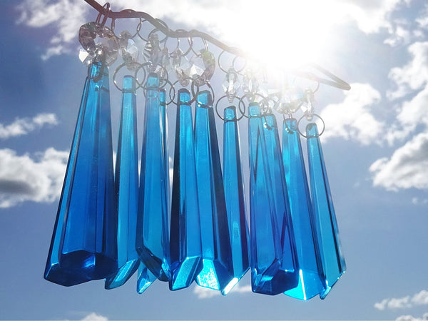 "12 Teal Blue Icicles 72 mm 3"" Chandelier Crystals Drops Beads Droplets Christmas Decorations 1"