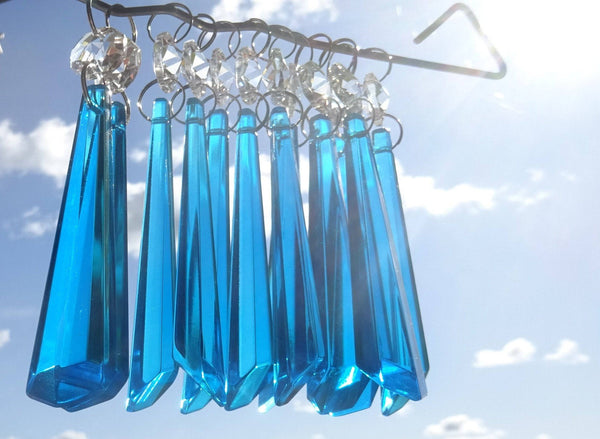 "12 Teal Blue Icicles 72 mm 3"" Chandelier Crystals Drops Beads Droplets Christmas Decorations 4"