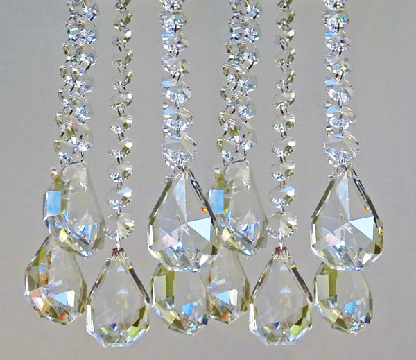 Clear Glass XL Squared Oval 325 mm / 13 inch Chandelier Chain of Drops Crystals Beads Garland Pendant Decoration 12