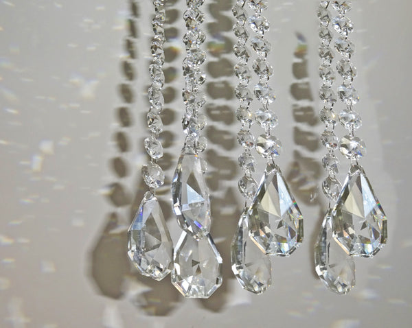 Clear Glass XL Squared Oval 325 mm / 13 inch Chandelier Chain of Drops Crystals Beads Garland Pendant Decoration 11