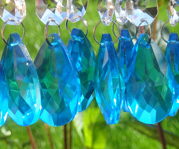 "Teal Blue Cut Glass Oval 37 mm 1.5"" Chandelier Crystals Drops Beads Droplets Light Parts 5"