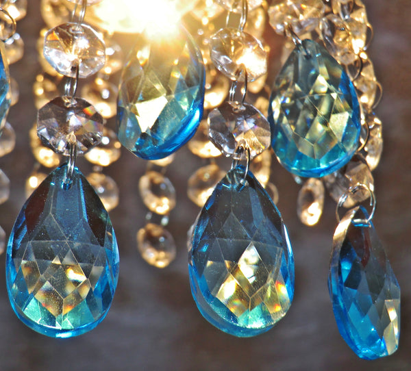 "Teal Blue Cut Glass Oval 37 mm 1.5"" Chandelier Crystals Drops Beads Droplets Light Parts 3"