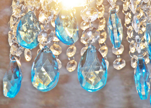 "12 Teal Blue Oval 37 mm 1.5"" Chandelier Crystals Drops Beads Droplets Christmas Decorations 5"