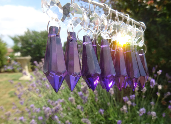 "Purple Cut Glass Torpedo 37 mm 1.5"" Chandelier Crystals Drops Beads Droplets Light Parts 10"