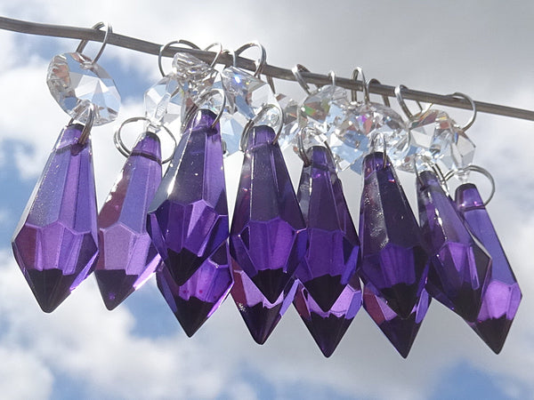 "12 Purple Torpedo 37 mm 1.5"" Chandelier Crystals Drops Beads Droplets Christmas Decorations 1"