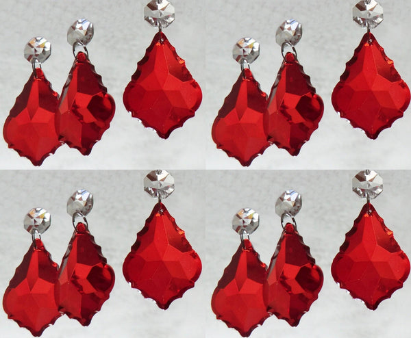 "12 Red Leaf 50 mm 2"" Chandelier Crystals Drops Beads Droplets Christmas Wedding Decorations"