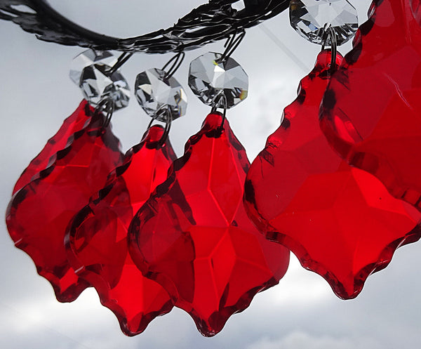 20 Red Chandelier Drops Beads Droplets Cut Glass Crystals Prisms Lamp Light Parts 5