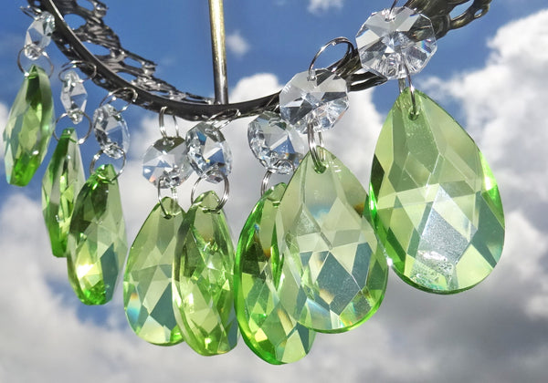 "Sage Green Cut Glass Oval 37 mm 1.5"" Chandelier Crystals Drops Beads Droplets 8"