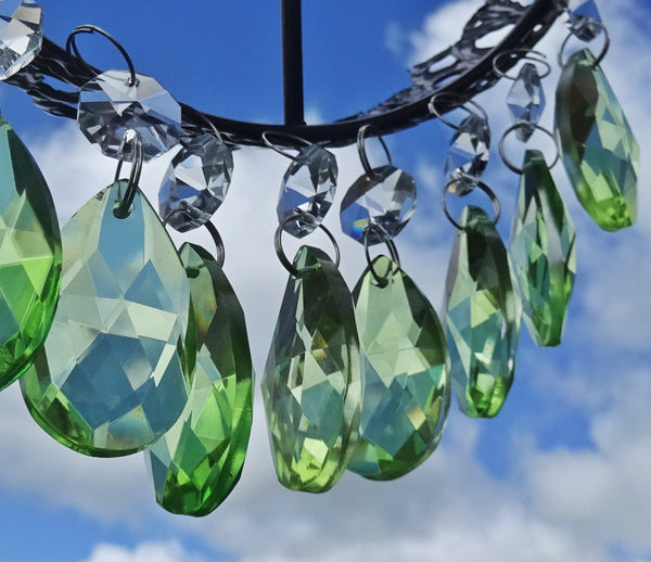 "Sage Green Cut Glass Oval 37 mm 1.5"" Chandelier Crystals Drops Beads Droplets 10"