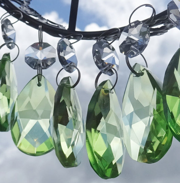 "Sage Green Cut Glass Oval 37 mm 1.5"" Chandelier Crystals Drops Beads Droplets 6"
