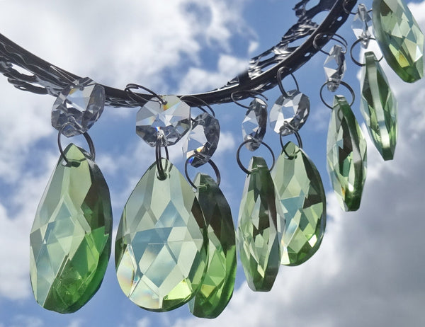 "Sage Green Cut Glass Oval 37 mm 1.5"" Chandelier Crystals Drops Beads Droplets 12"