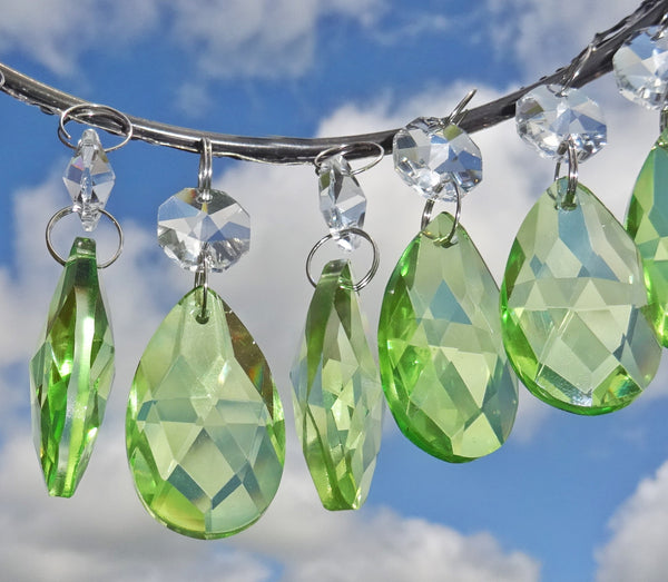 "Sage Green Cut Glass Oval 37 mm 1.5"" Chandelier Crystals Drops Beads Droplets 4"