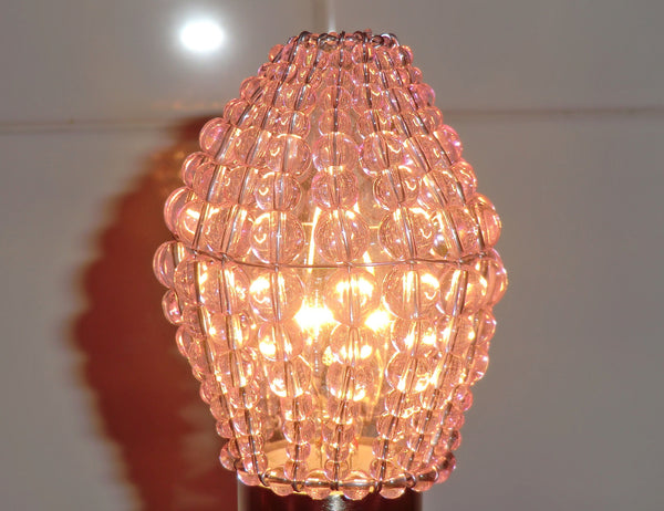 Chandelier Bead Candle Light Bulb Pink Glass Cover Sleeve Lampshade Alternative Beaded 8