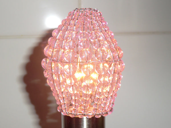 Chandelier Bead Candle Light Bulb Pink Glass Cover Sleeve Lampshade Alternative Beaded 7