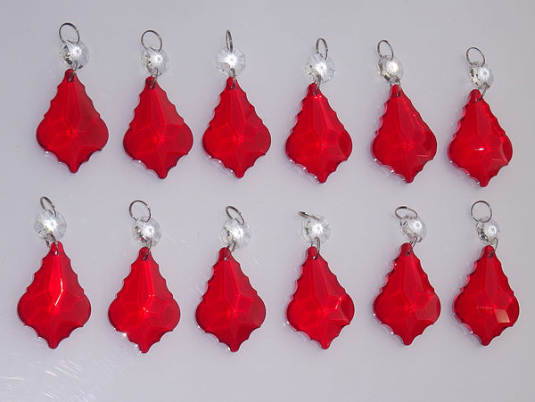 "12 Red Leaf 50 mm 2"" Chandelier Crystals Drops Beads Droplets Christmas Wedding Decorations 4"